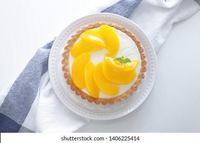 Peach tart for gourmet dessert image