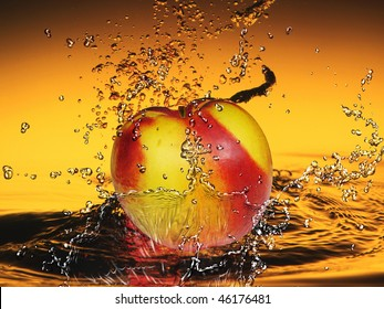 peach in the water spray