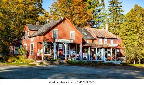 Peacham, Vermont - 10/6/2007: The Peacham general store in the fall season, Peacham, VT