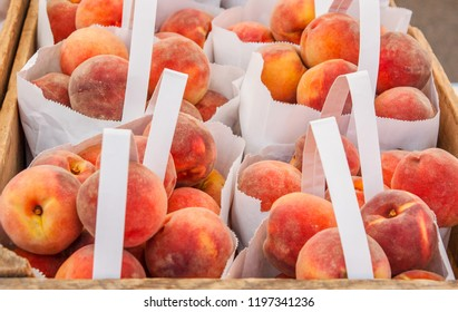 Peaches in Bags and Crates for Sale