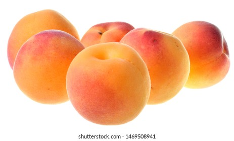 Peaches close up isolated on a white background.