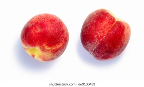 Peaches (fruits of Prunus persica), whole. Clipping paths, shadows separated, top view