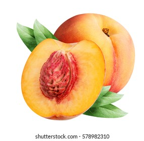 peaches isolated on white background with clipping path