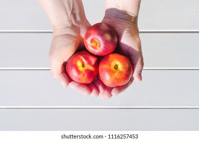 Peaches, nectarines in hands. View from above. White background