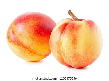 Peaches or nectarines isolated on white background