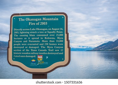 Peachland, British Columbia, Canada - September 8, 2019: close-up of sign on Antlers Beach, remembering the devastation caused by the Okanagan Mountain Fire in 2003.
