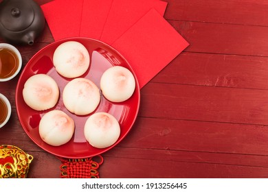 A peach-shaped birthday bun known as the Longevity Peach.Chinese specialty pastry,