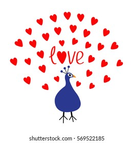 Peacock Open red heart set tail. Word Love text. Zoo animal collection. Exotic tropical bird. Cute cartoon character. Blue color. Happy Valentines Day. Greeting card. White background. Flat