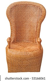 Peacock woven wicker chair isolated on white with focus on seat back