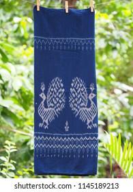 Peafowl patterns of Thai sarong, Thai sarong, Thai silk made from cotton. Close up Thai silk.