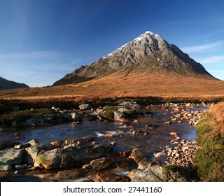 The peak of Buachaille Etive Mor above River Coupall