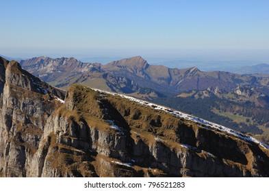 Peak of the Churfirsten range and mount Grosser Speer. View from Chaeserrugg, Switzerland