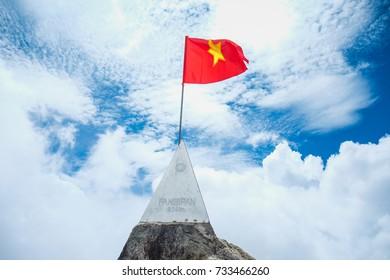 Peak of Fansipan mountain.Vietnam.