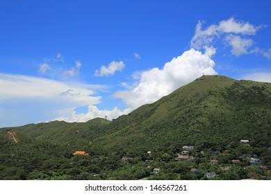 the peak of  Lantau Island in beautiful weather in summer