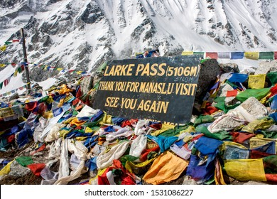 The peak of Larke-La (Pass) ; 5106 meters from sea level in Manaslu Circuit trek.
