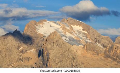 The peak of Marmolada on the summer season, Dolomites, Italy