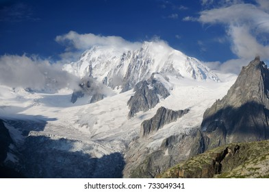 Peak of Mont Blanc and Mer-de-Glace glacier from Talefre glacier, Chamonix, french Alps