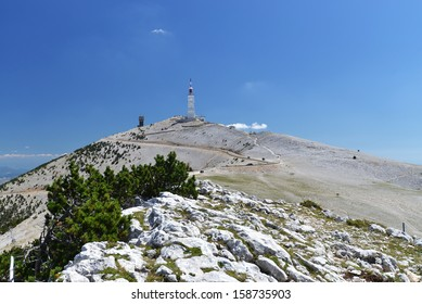 peak of Mont Ventoux in Provence, South France. Finish area of Tour-de-France stage