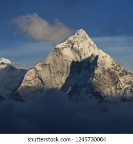 Peak of mount Ama Dablam just before sunset. View from Dzongla, Everest National Park, Nepal.