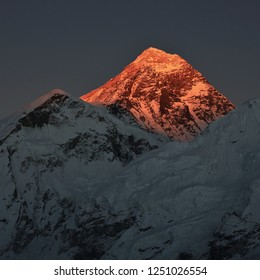 Peak of Mount Everest at sunset, view from Kala Patthar, Nepal.