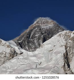 Peak of Mount Everest, view from Kala Patthar. Nepal.
