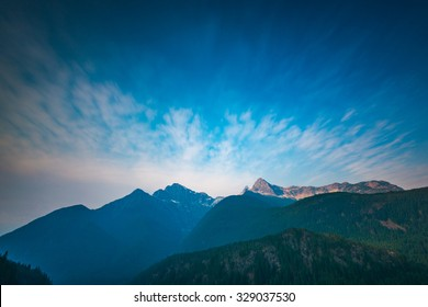 peak of the mountain,scene over Diablo lake when sunrise in early morning  in North Cascade national park,Wa,Usa