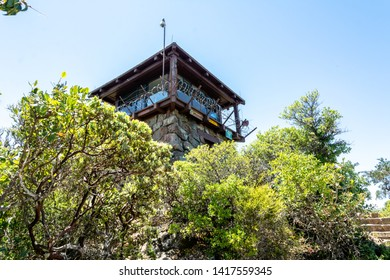 The peak of Mt Tamalpais State Park, Marin County, California. The result of uplift, buckling, and folding of the North American plate as it slides along the Pacific Plate. Old tower at the top.