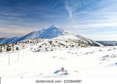 The peak of the Snezka Mountain in the Krkonose Mountains during winter. Poland.