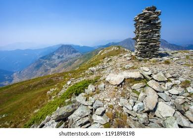 Peak of Tromedja mount - border of Montenegro, Kosovo and Albania