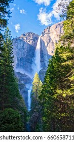 Peak water flow of Upper and Lower Yosemite Falls.