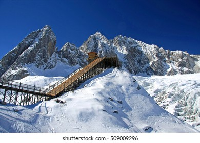 The peak of Yulong (Jade Dragon) Snow Mountain in Lijiang, Yunnan Province, China
