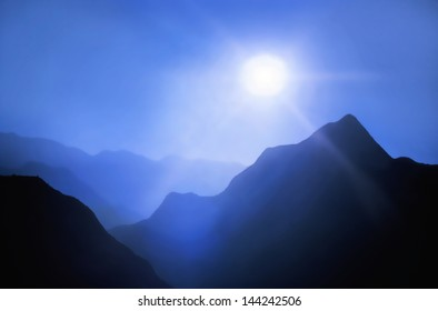 peak,a panorama of the mountains and the bright sun