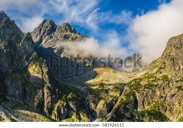 Peaks against the sky. Slovak Tatra mountains. Mountain scenery.