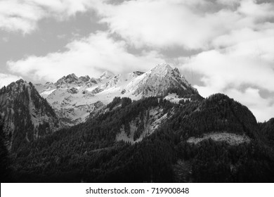 Peaks of austrian alps in winter, black and white