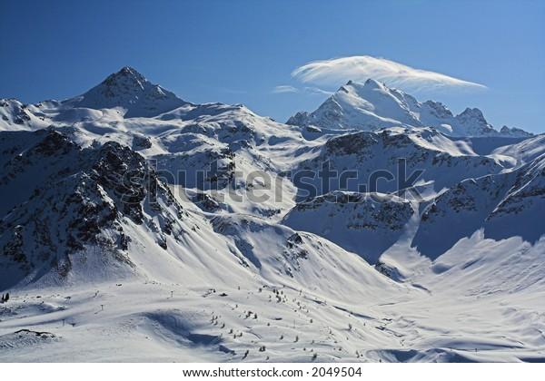 Peaks with a cloud, Bormio sky resort, Italy