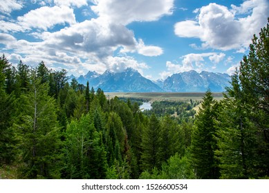 Peaks of the Grand Teton range at the Grand Teton national park in Wyoming (USA)