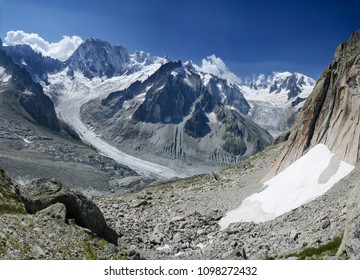 Peaks of Grandes Jorasses and Mont Blanc with the Leaschaux glacier in the Chamonix, French Alps