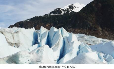 The peaks of Mendenhall Glacier of Juneau, Alaska during spring time