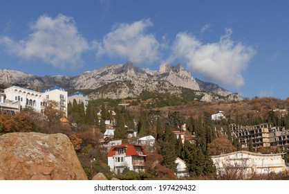 Peaks of Mount Ai-Petri in the Alupka Crimea in sunny autumn day. View from Alupka Vorontsov park