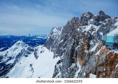 Peaks of the mountain range in winter, Alps, Austria.
