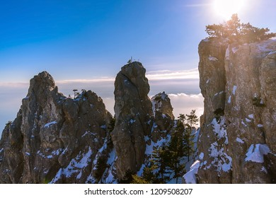 The peaks of the mountains Ai-Petri, sunny, clouds below the mountains, Crimea, Russia. horizontal series of mountain tops, sunlight backlit through a pine tree, long clouds, blue sky,