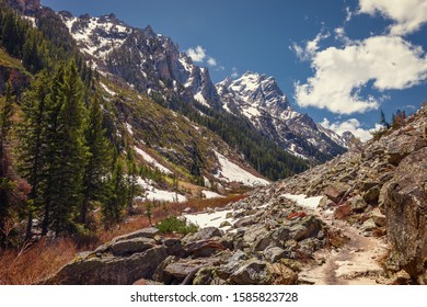 Peaks of the Teton Mountain range in Grand Teton National Park, Cascade Canyon Trail, Wyoming, USA