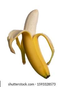 Pealed banana isolated on white background
