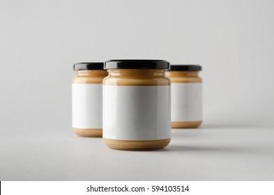 Peanut / Almond / Nut Butter Jar Mock-Up - Three Jars. Blank Label