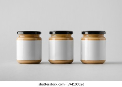 Peanut / Almond / Nut Butter Jar Mock-Up - Three Jars. Blank Label