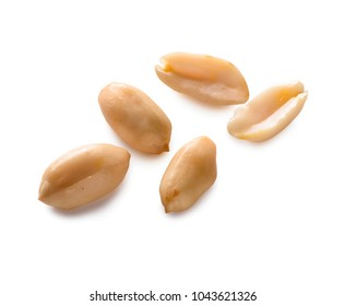 peanut beans close-up  isolated on white background (with clipping path)