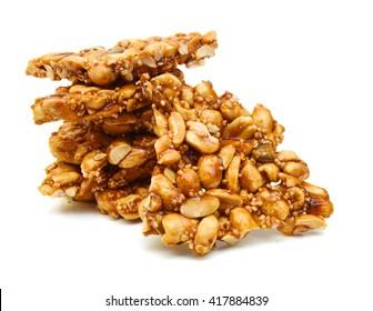 Peanut brittle, isolated on white background