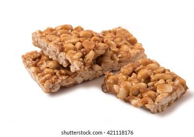peanut brittle isolated on white background