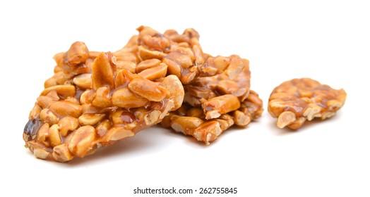 peanut brittle on white background