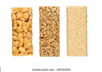 Peanut brittles isolated on white background